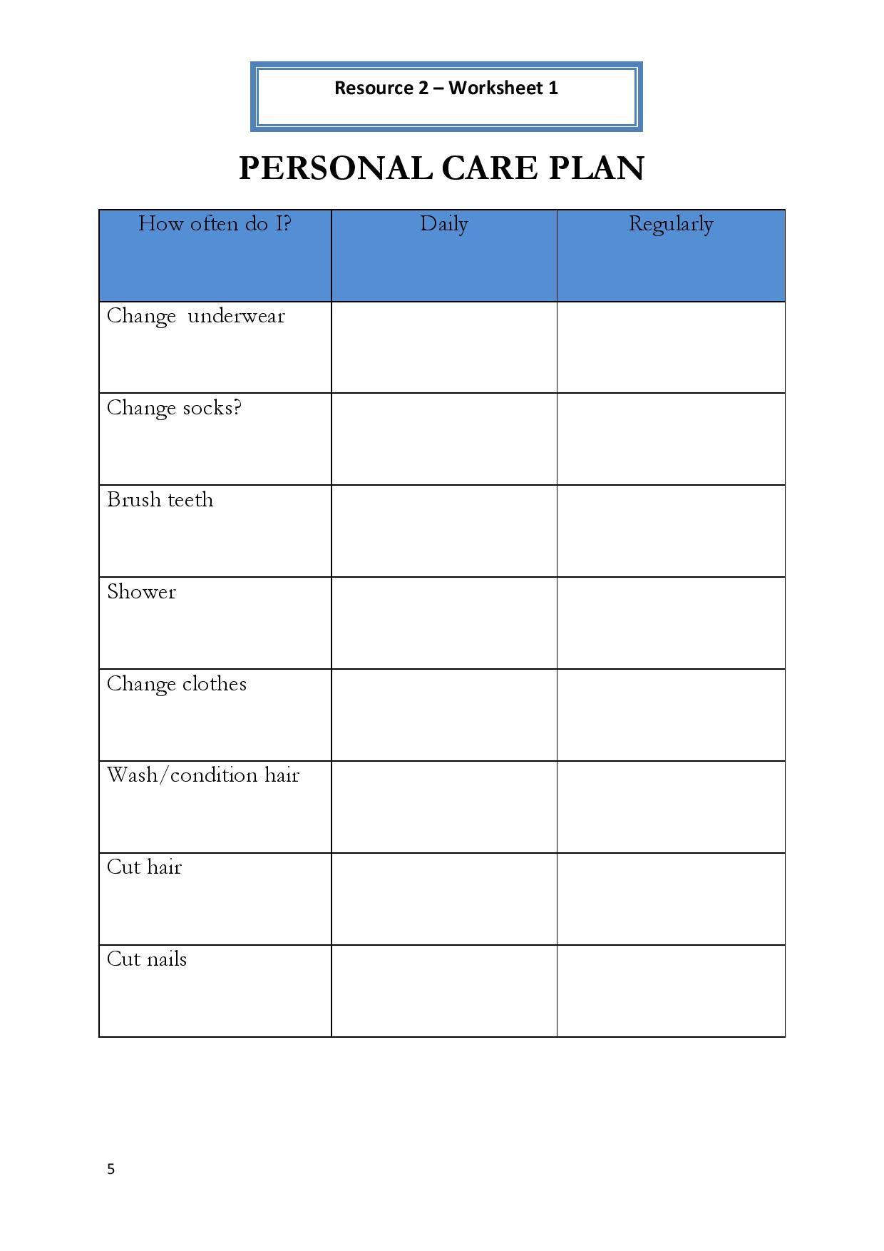 Shower Hygiene Worksheet For Adults
