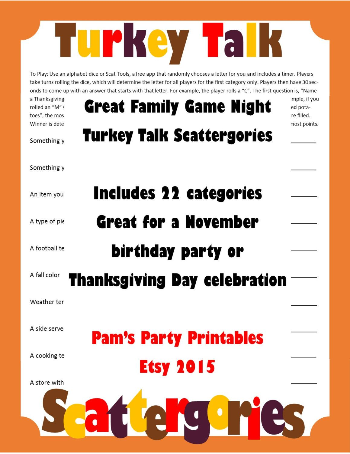 Thanksgiving Scattergories Printable Game