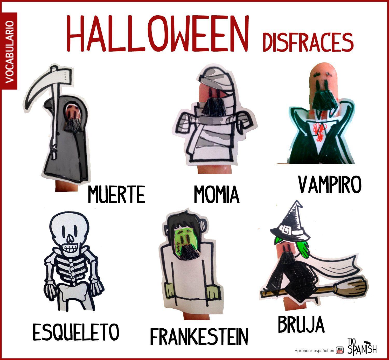 Disfraces halloween, vocabulario halloween español