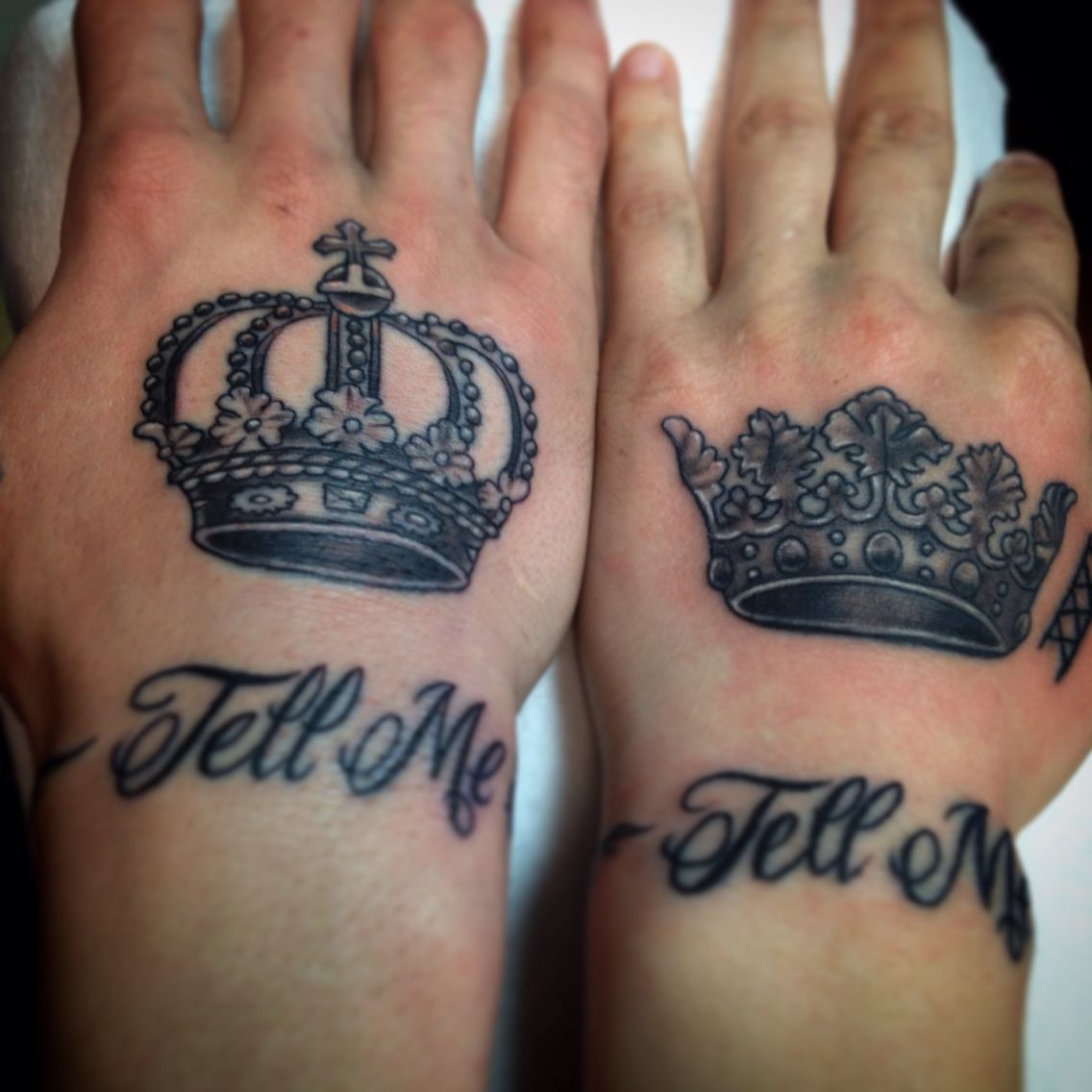 King and Queen crowns tattoo hand matching couple his her
