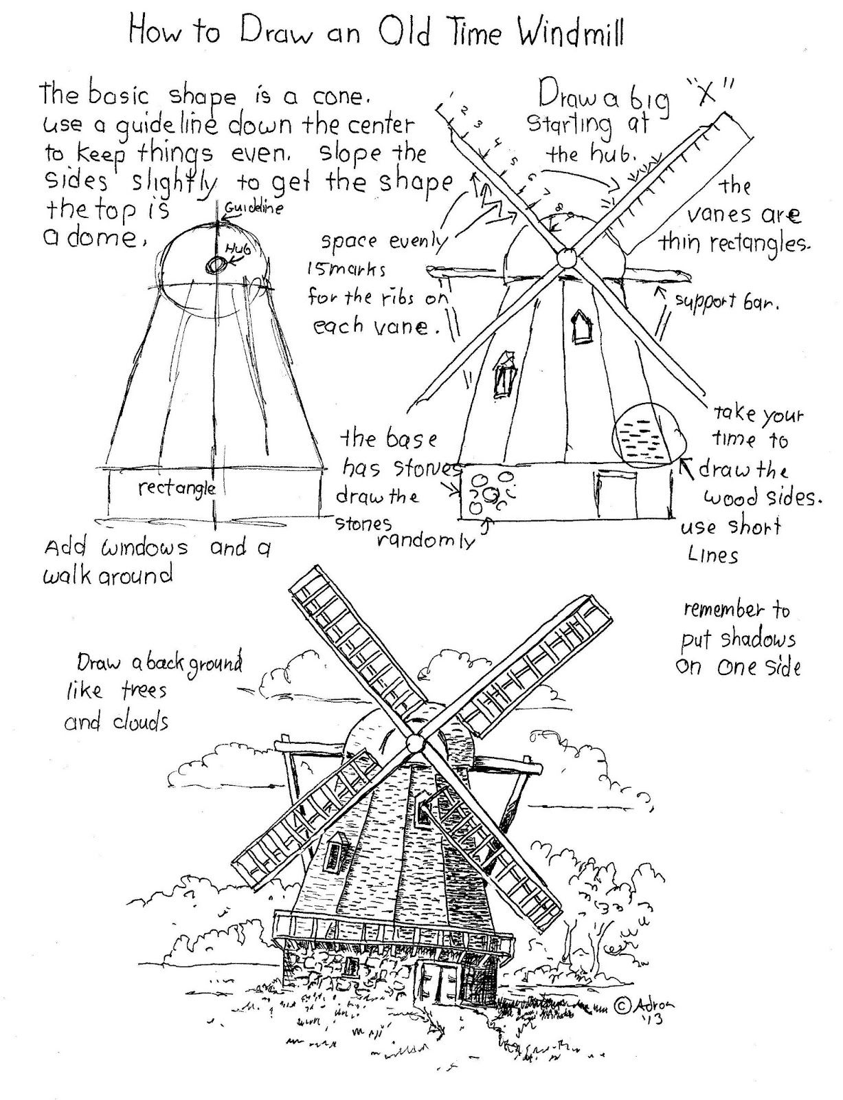 How To Draw A Windmill Worksheet