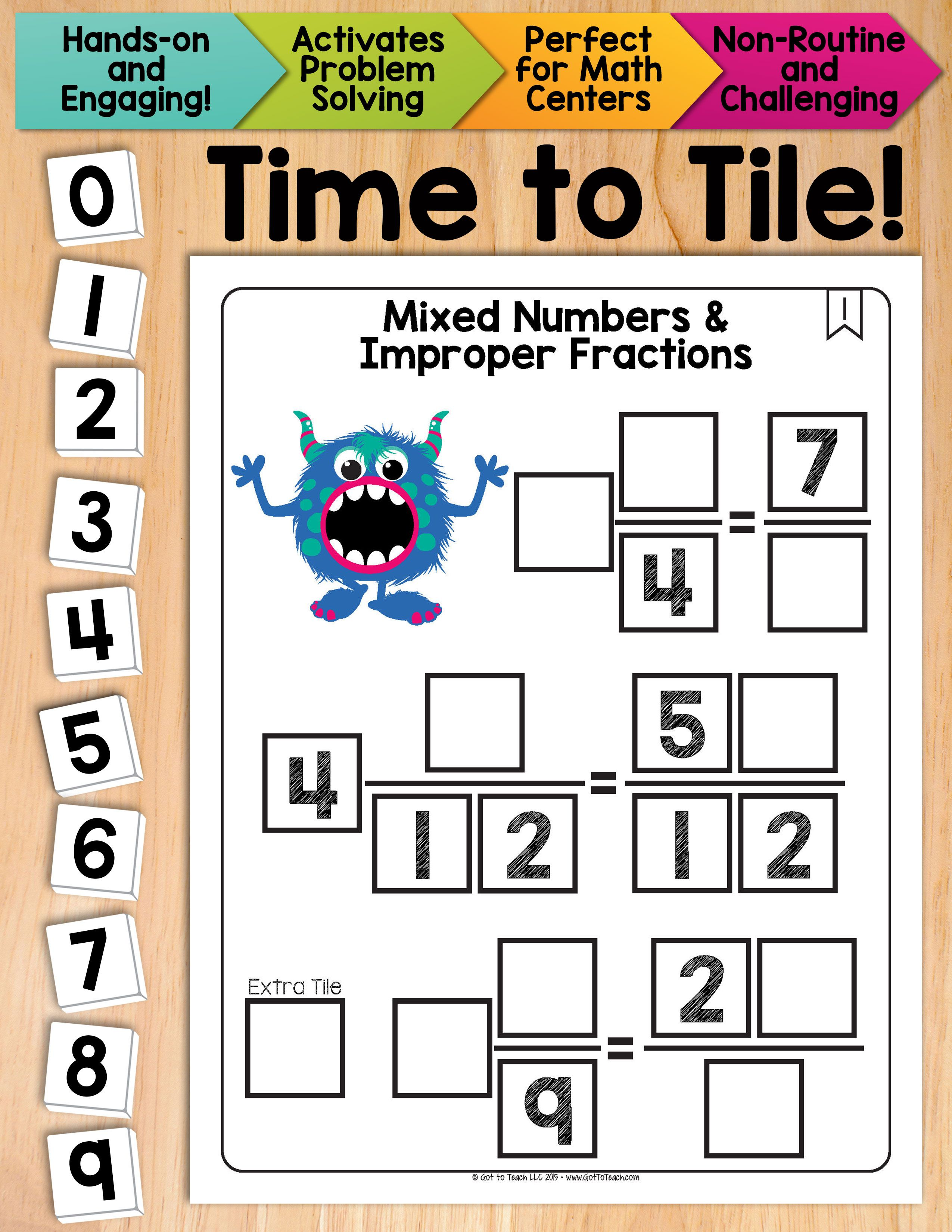 Math Tiles Mixed Numbers And Improper Fractions Math
