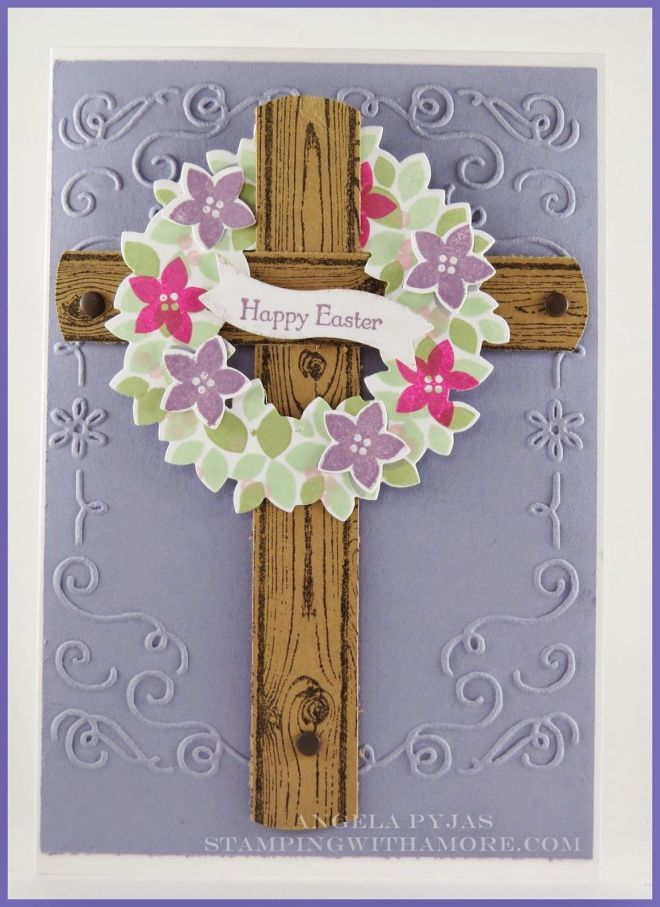 Easter card using stampinup wondrous wreath stamp set