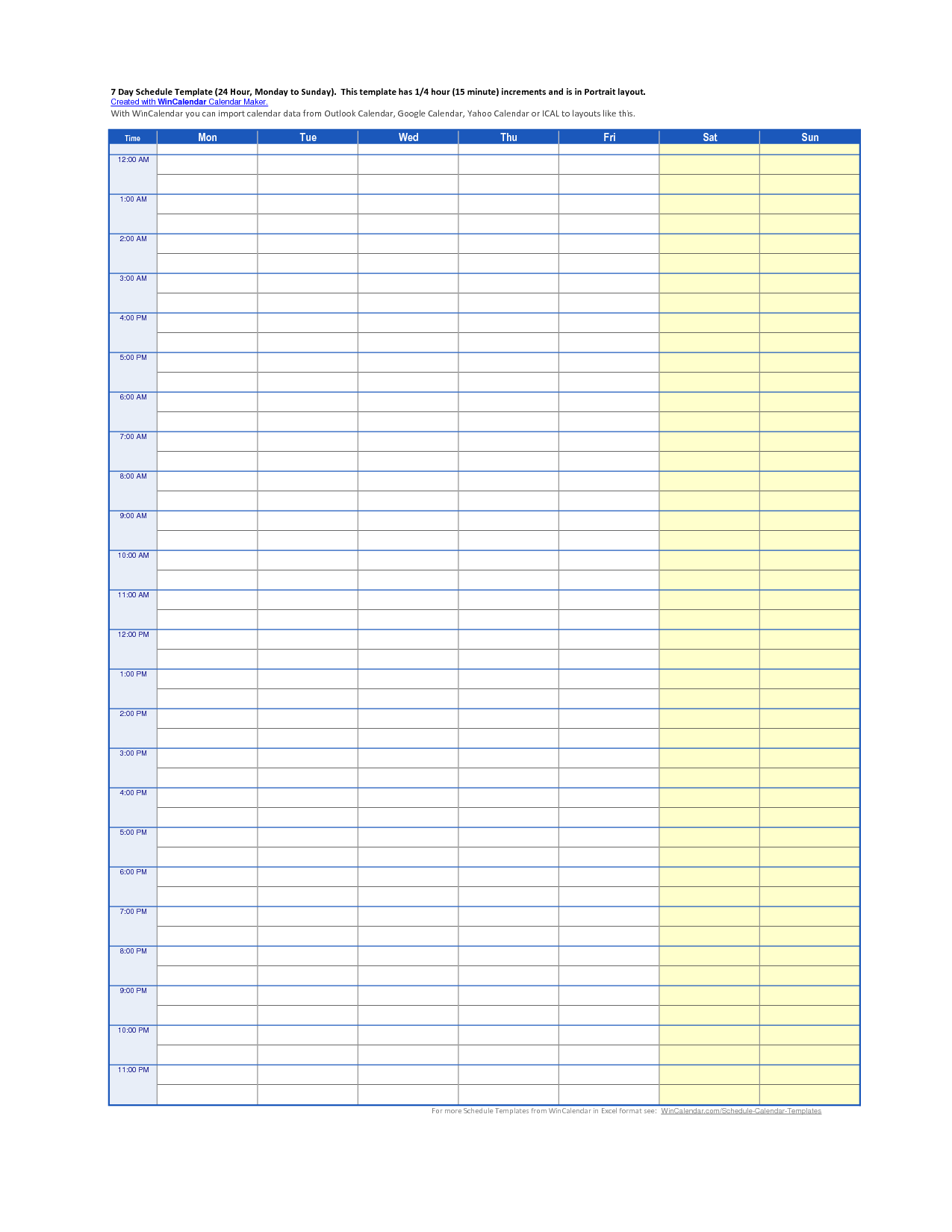 24 Hour Day Schedule Template