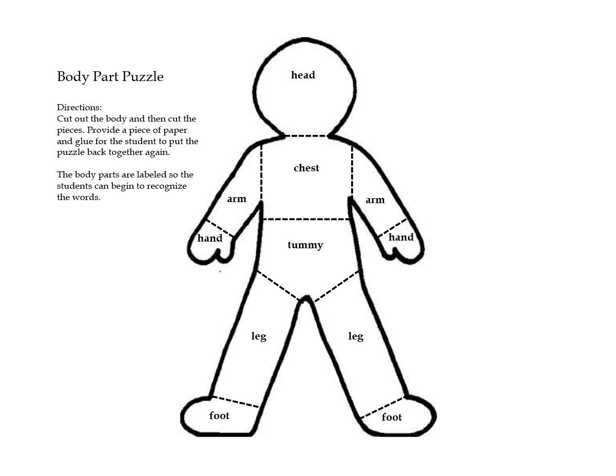 Body Part Puzzle Page Coloring Pages