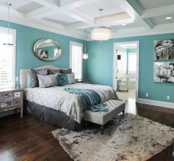 20 master bedroom colors | turquoise walls, white ceiling and ceilings