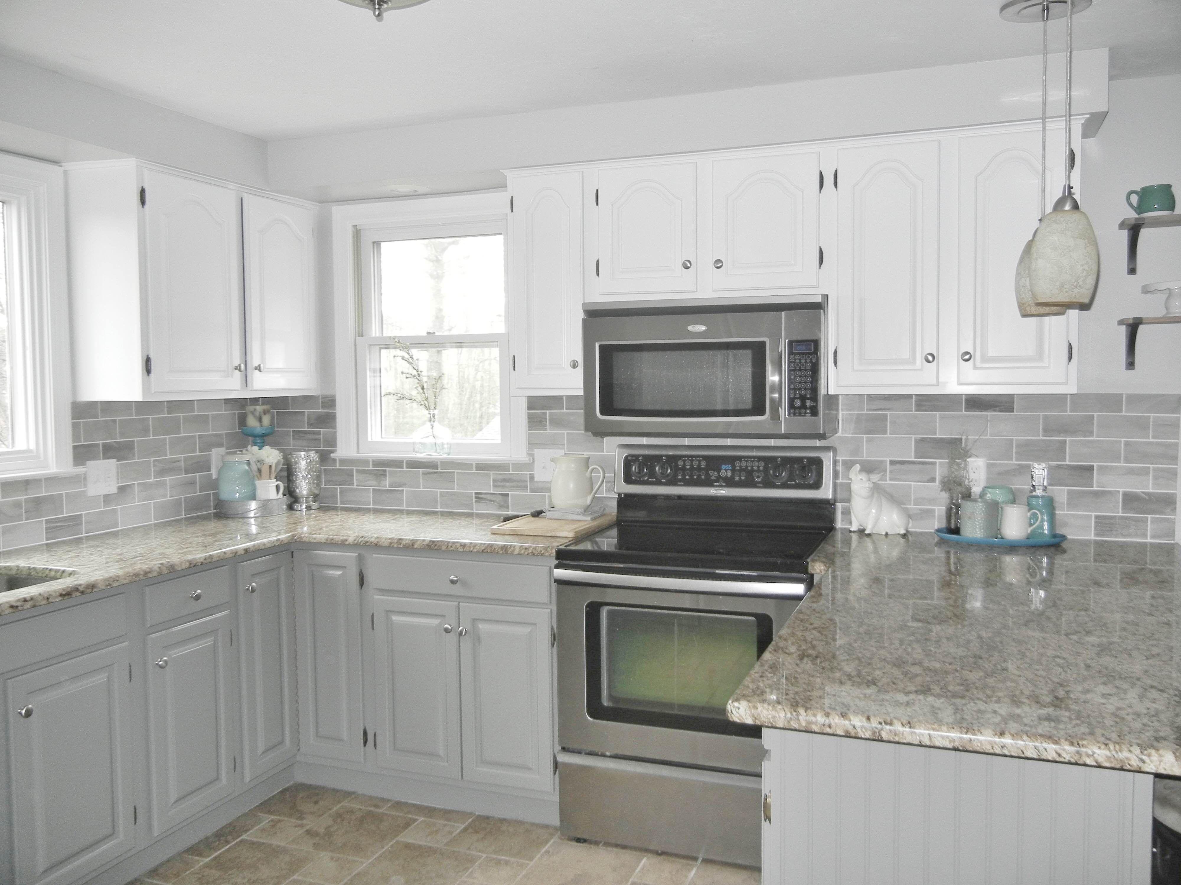 Our Oak Kitchen Makeover Gray subway tiles, White