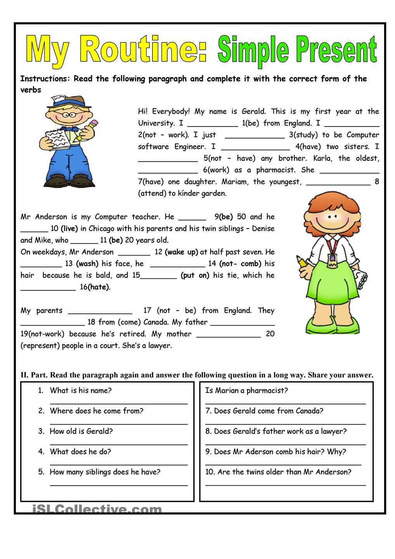 My Routine. Simple Present Tense worksheet