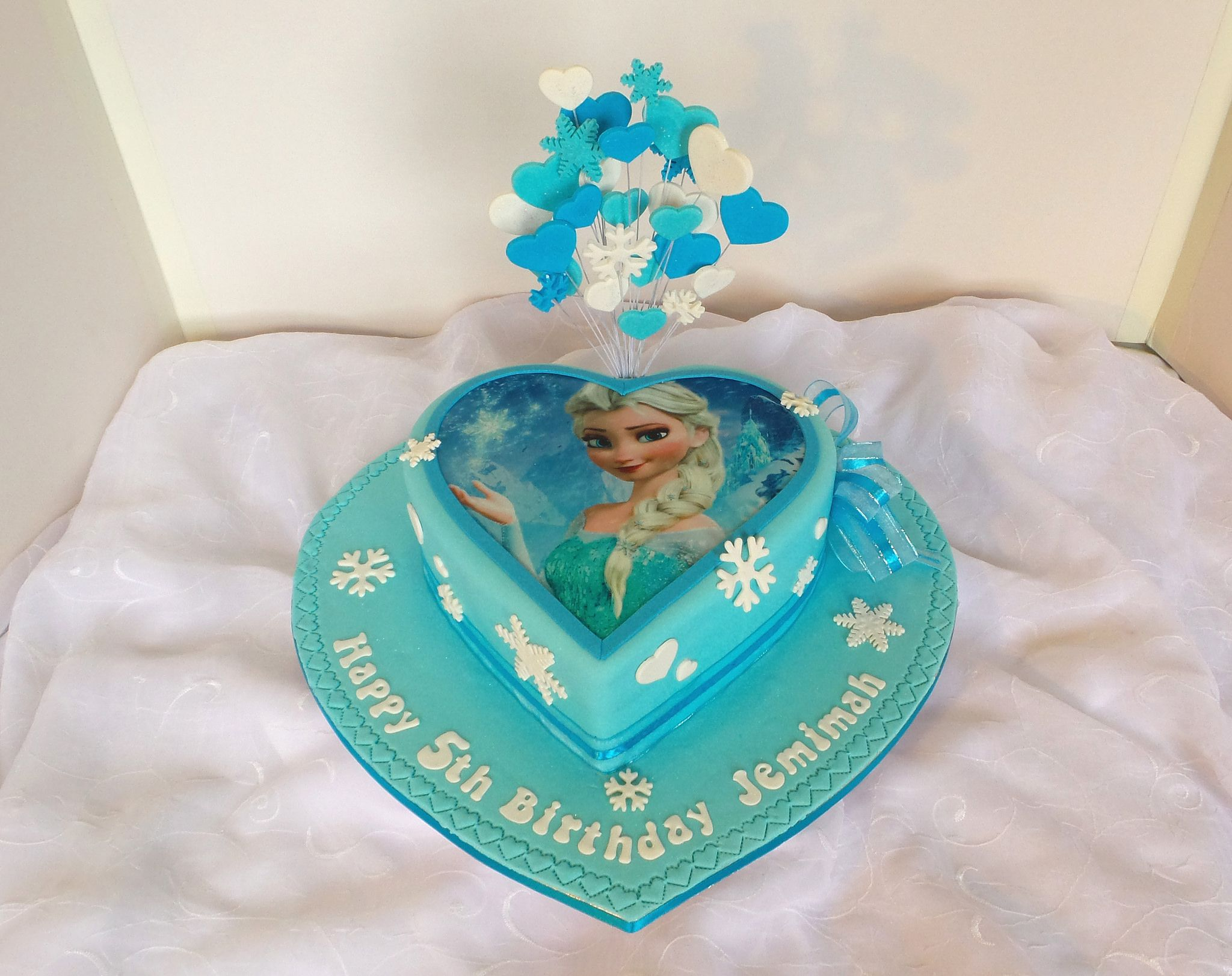Frozen Heart Shaped Birthday Cake