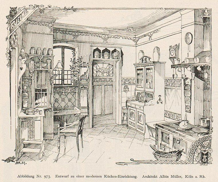 This is MY dream period kitchen. Published 1897