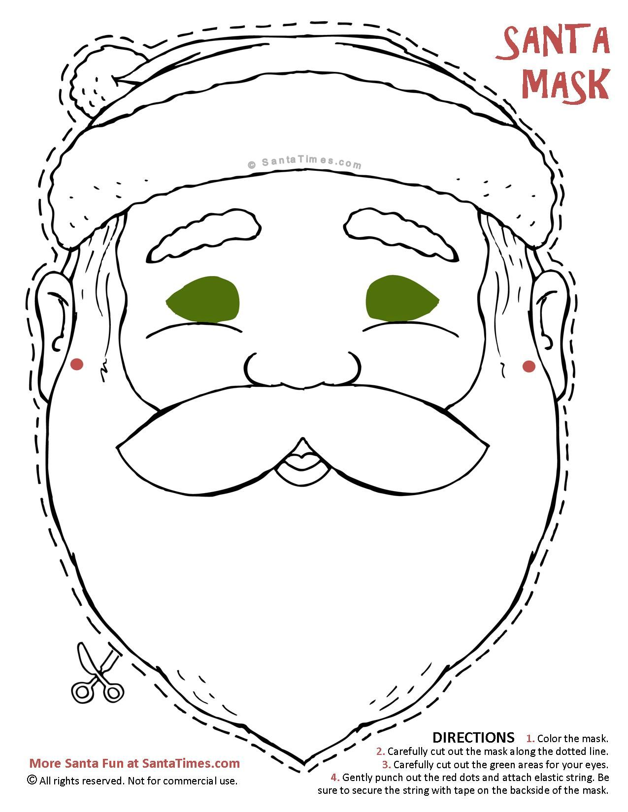 Here S A Jolly Santa Mask To Cut Out And Color Find More