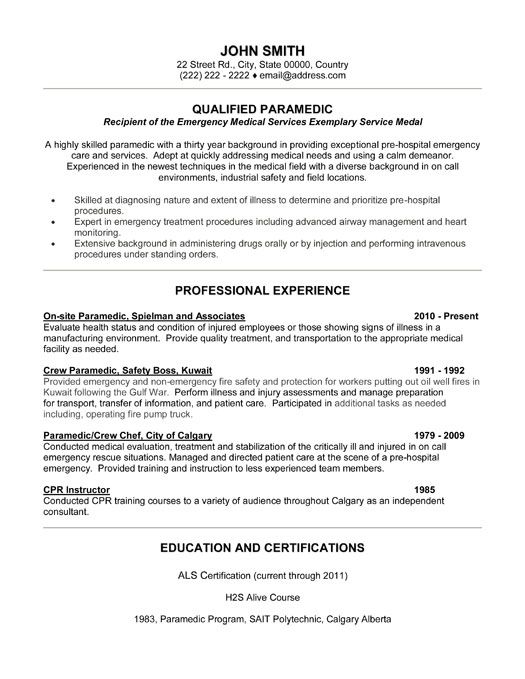 Emt Resume Objective Examples