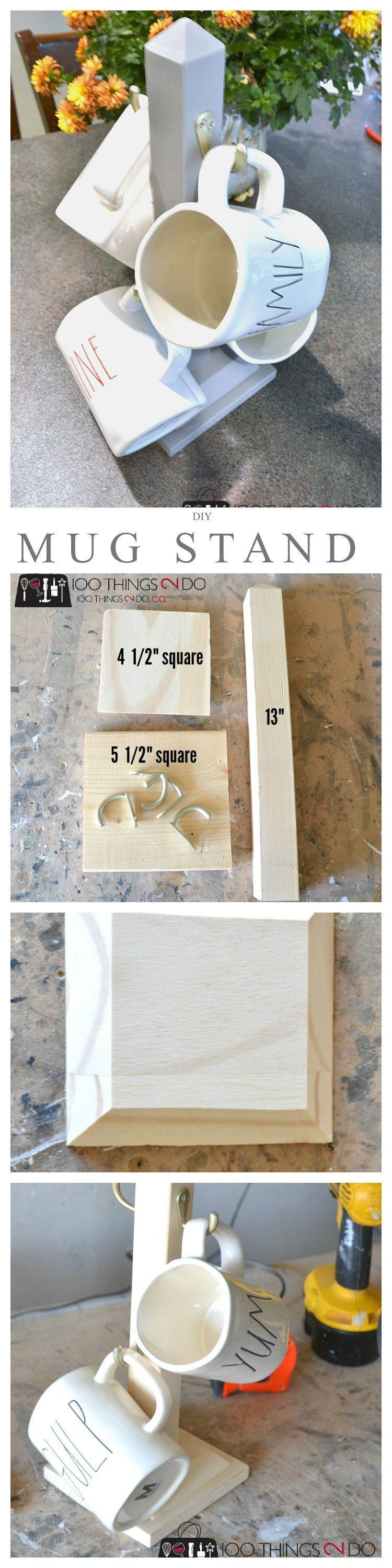 DIY Mug Stand Scrap wood projects and Coffee cup holder
