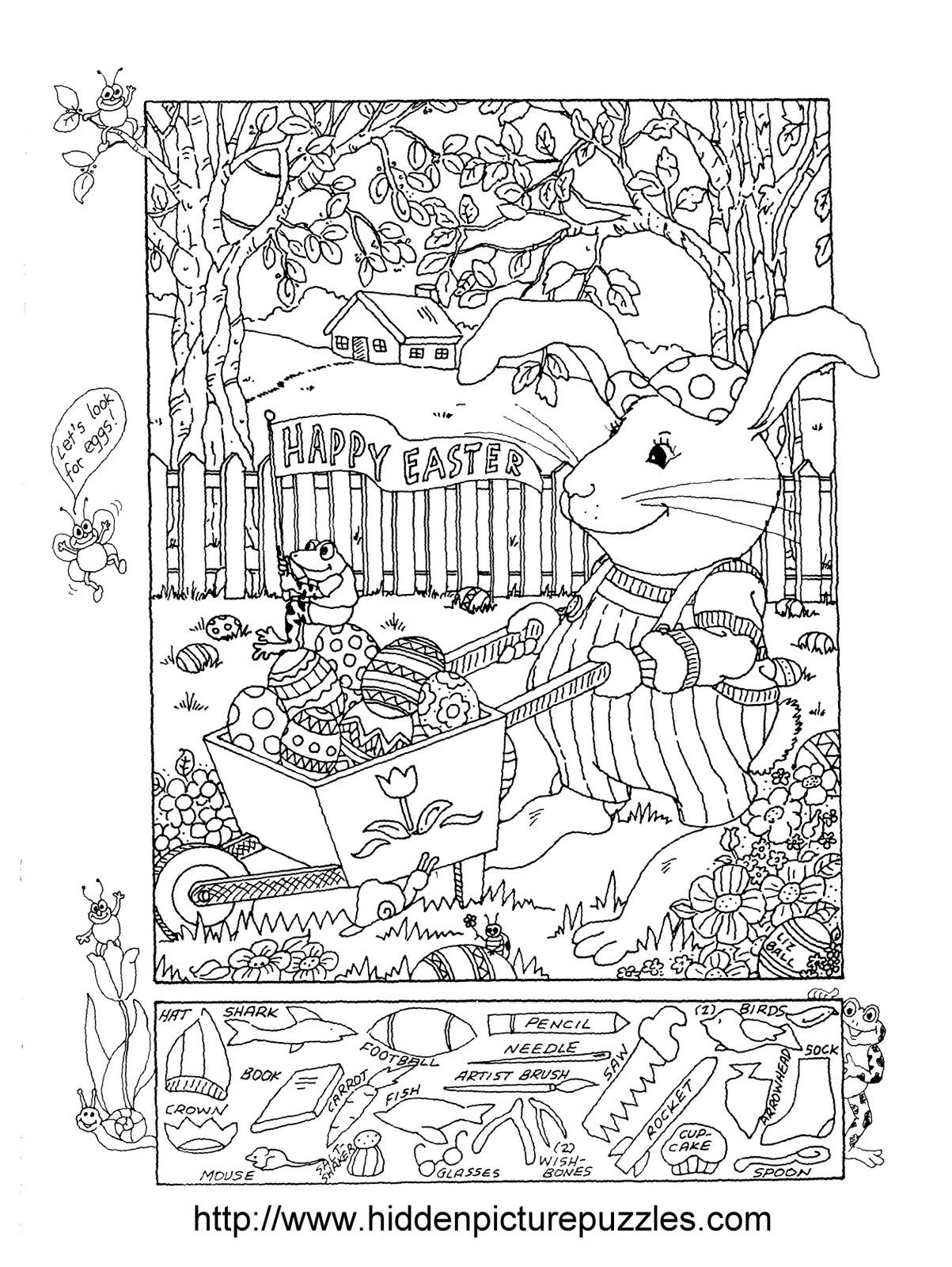 Hidden Pictures Publishing Easter Hidden Picture Puzzle And Coloring Page