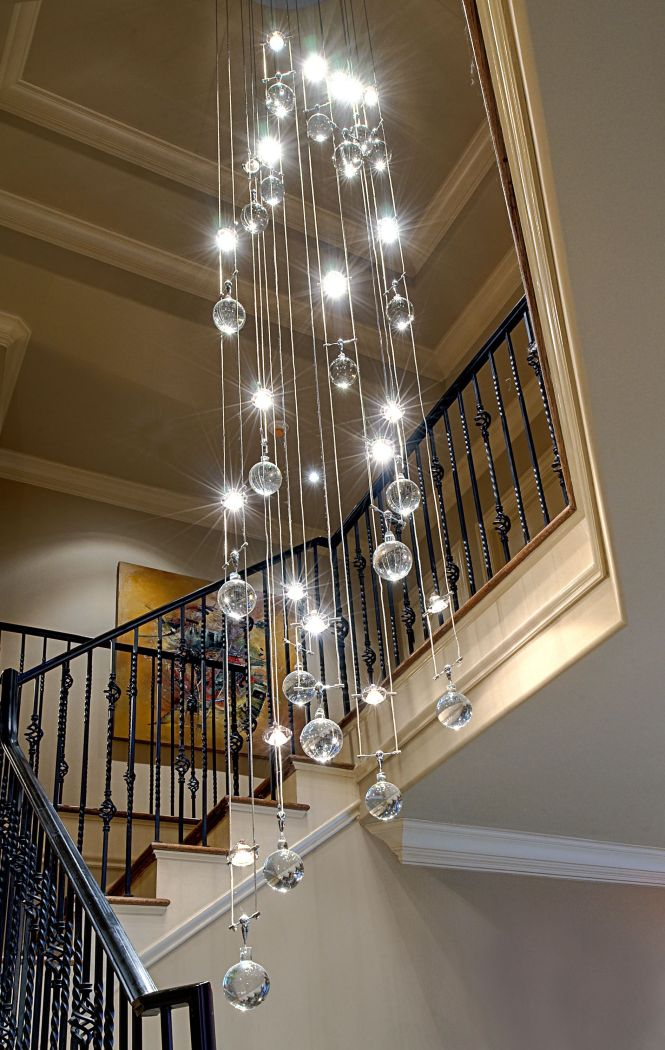 Stunning Crystal Glass Bubble Chandelier For Height Plafond As Well Black Iron Banister Handle Stair In Modern Loft Ideas Foyer Fixture