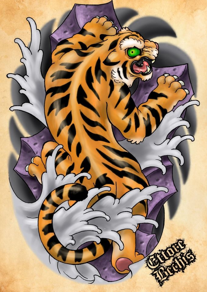 Tiger TATTOO flash color My Art work Pinterest Tiger