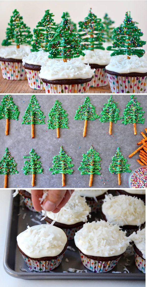 30 Christmas Food Ideas Christmas tree cupcakes