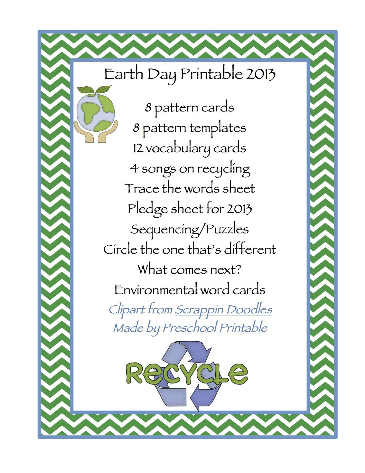 Preschool Printables Earth Day