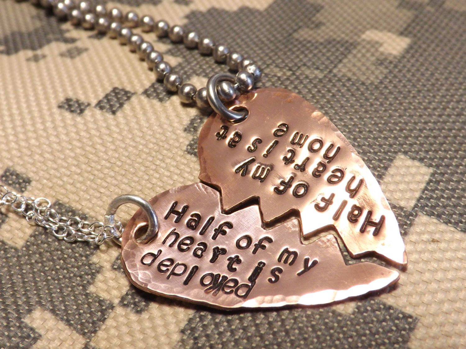 Copper Broken Heart His and Her Necklace Set by