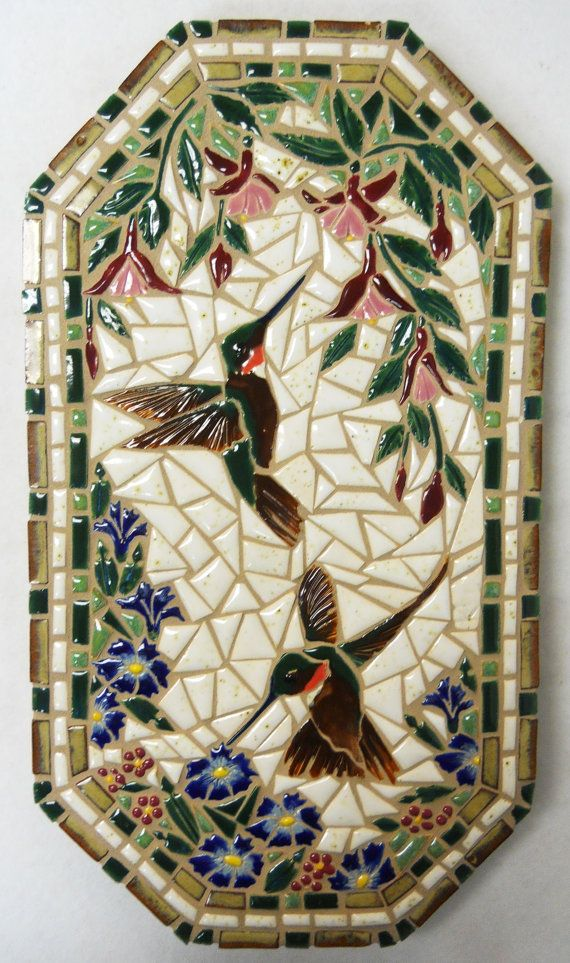 "Mosaic Wall Art Handmade Ceramic Tile ""Humming Birds and"
