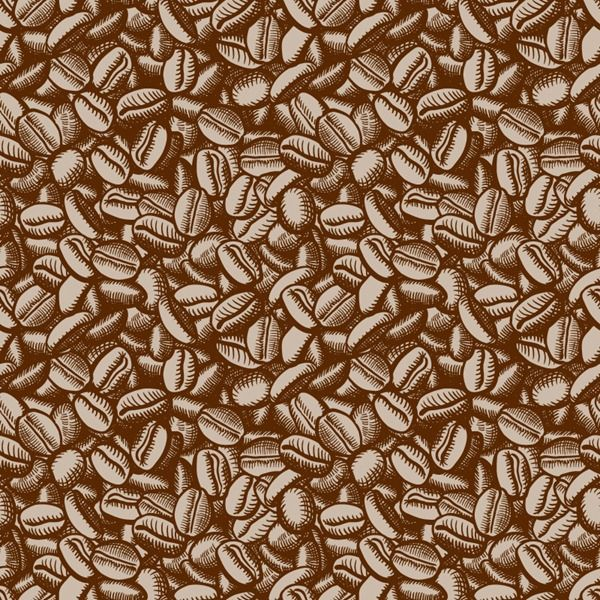 Painted coffee beans background vector material KOPI