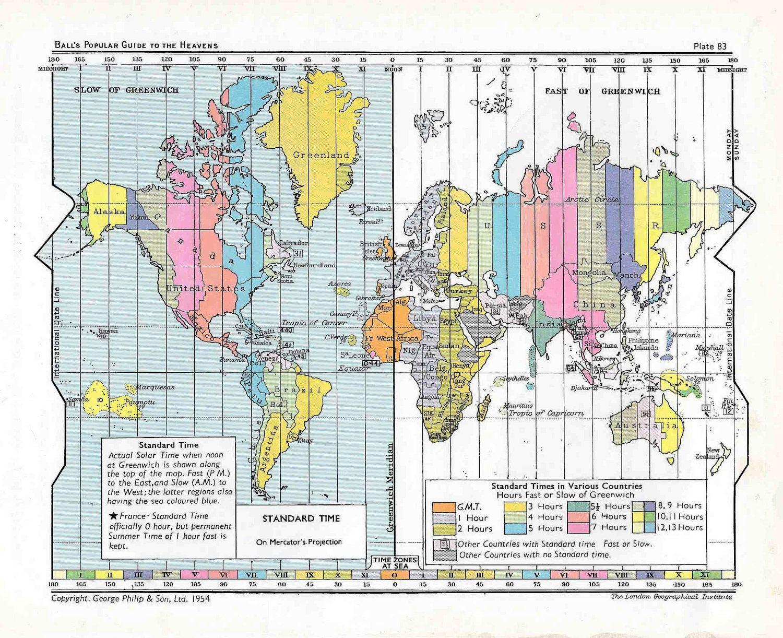World Map Original Vintage Print Showing Standard