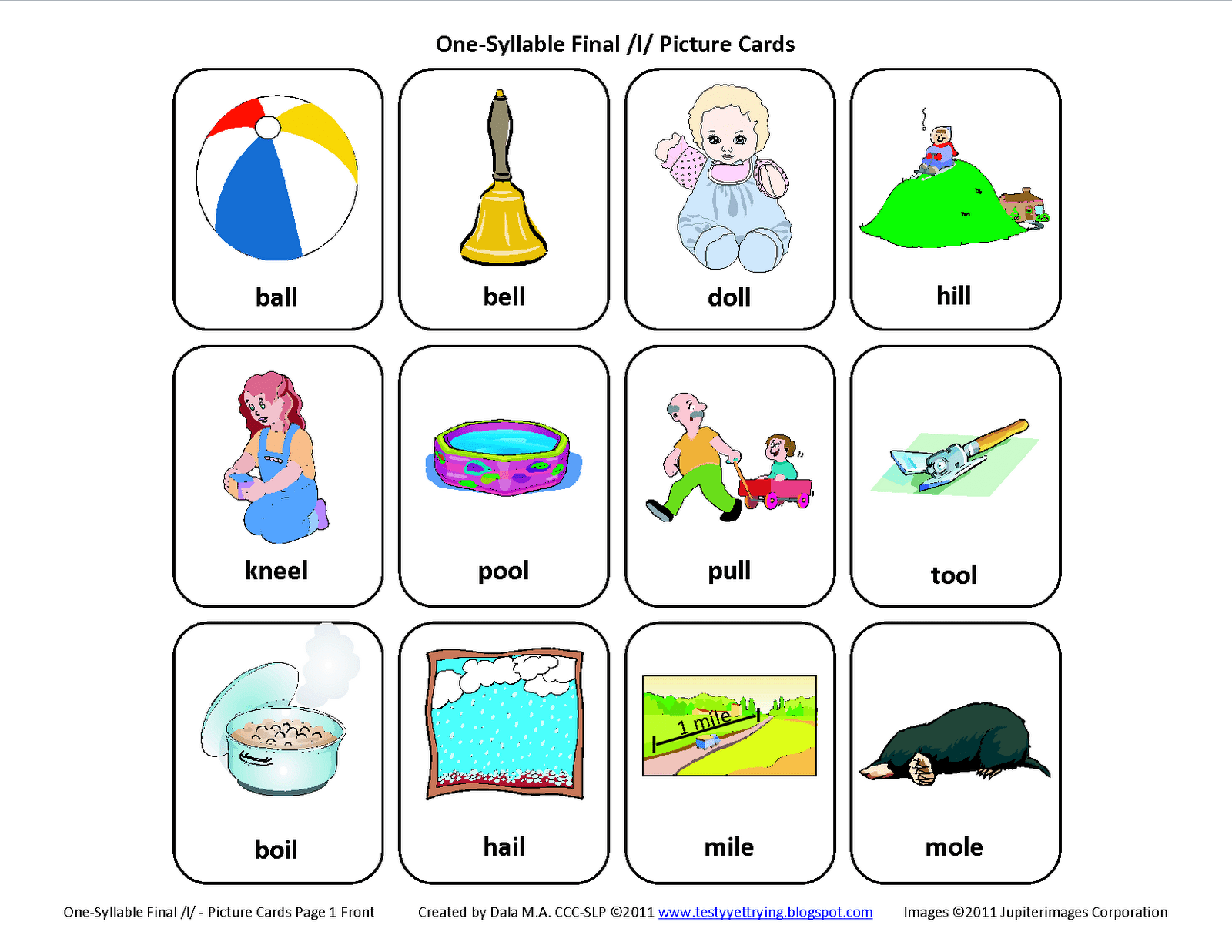 Final L Free Speech Therapy Articulation Picture Cards