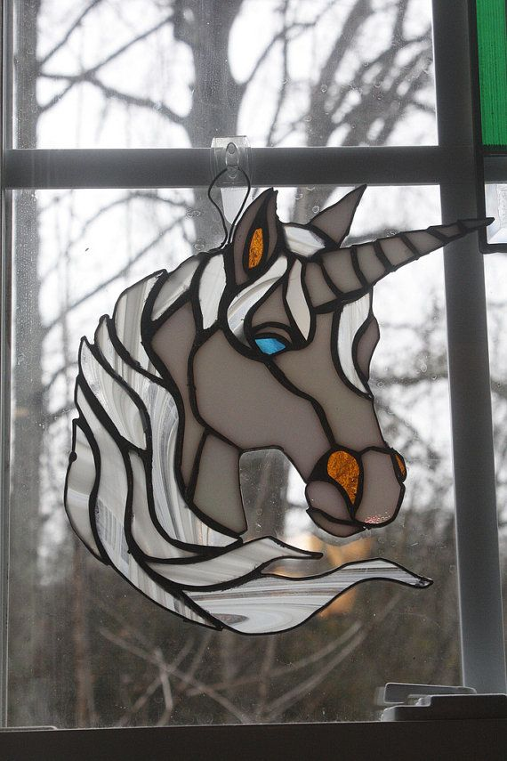 Stained Glass Unicorn Or Horse Sun Catcher By