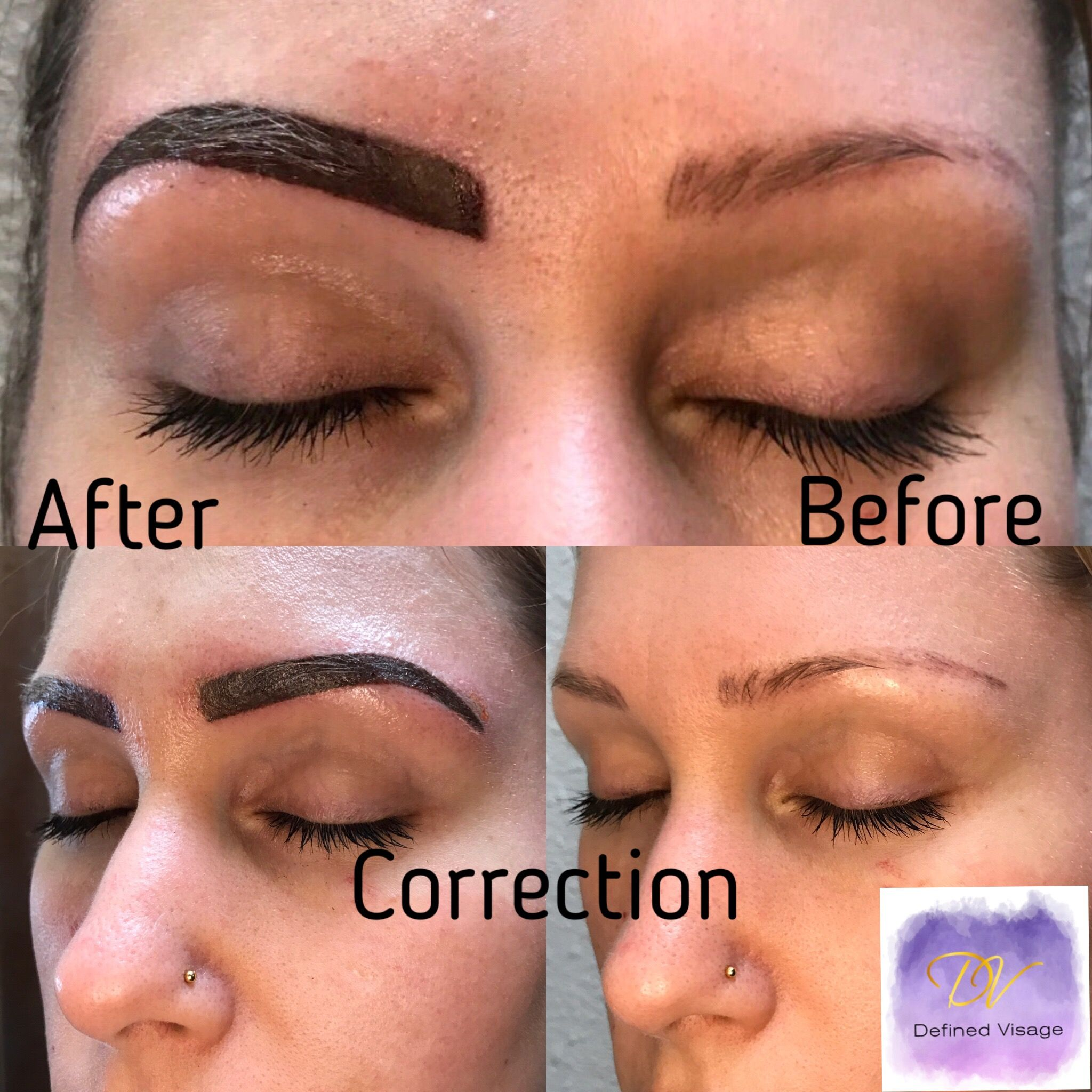 Ombré completed to correct bad shape and microblading