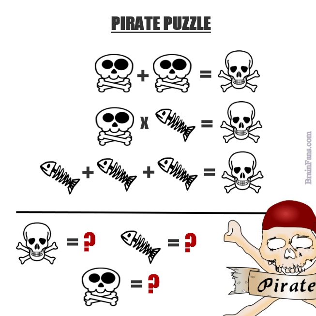 Brain teaser Number And Math Puzzle hard pirate puzzle