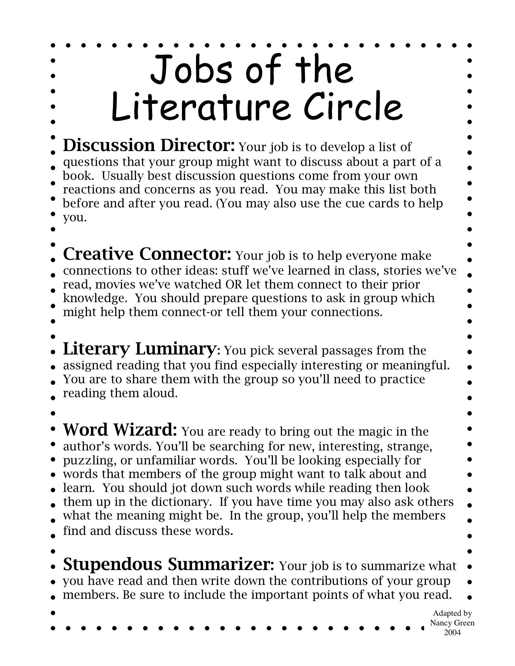 Literature Circle Jobs Stupendous Summarizer Is Better Than Artful Artist