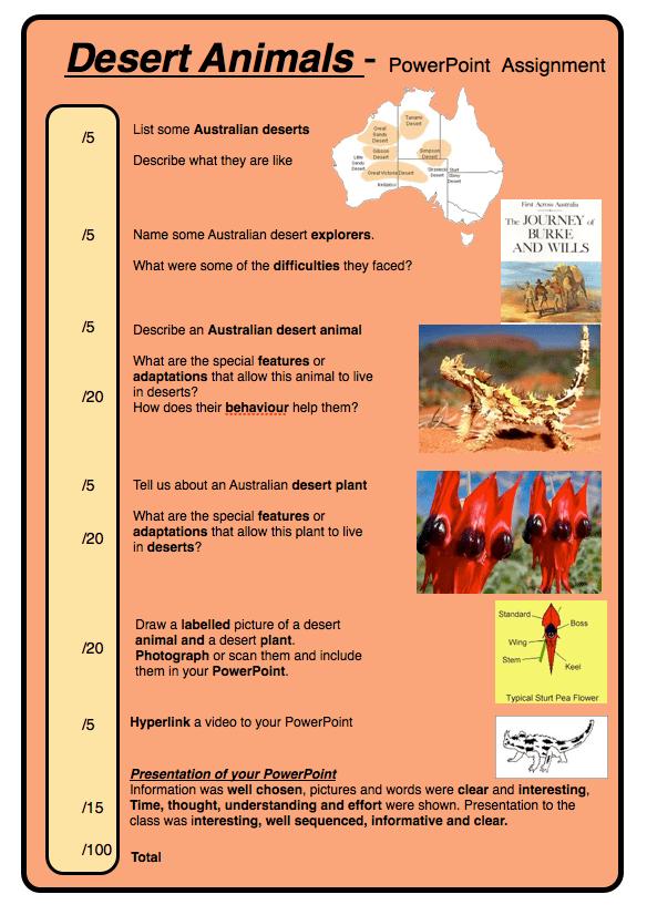 Australian Desert Plants and Animals Assignment Desert