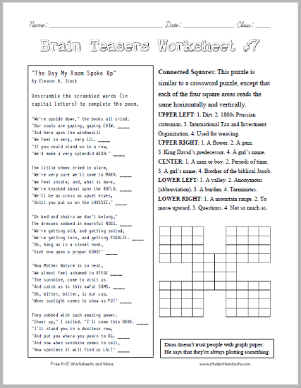 Brain Teasers Worksheet 7 Headscratchers kids will