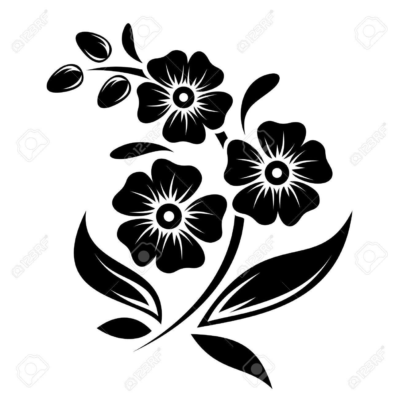 Black Silhouette Of Flowers Vector Illustration Royalty