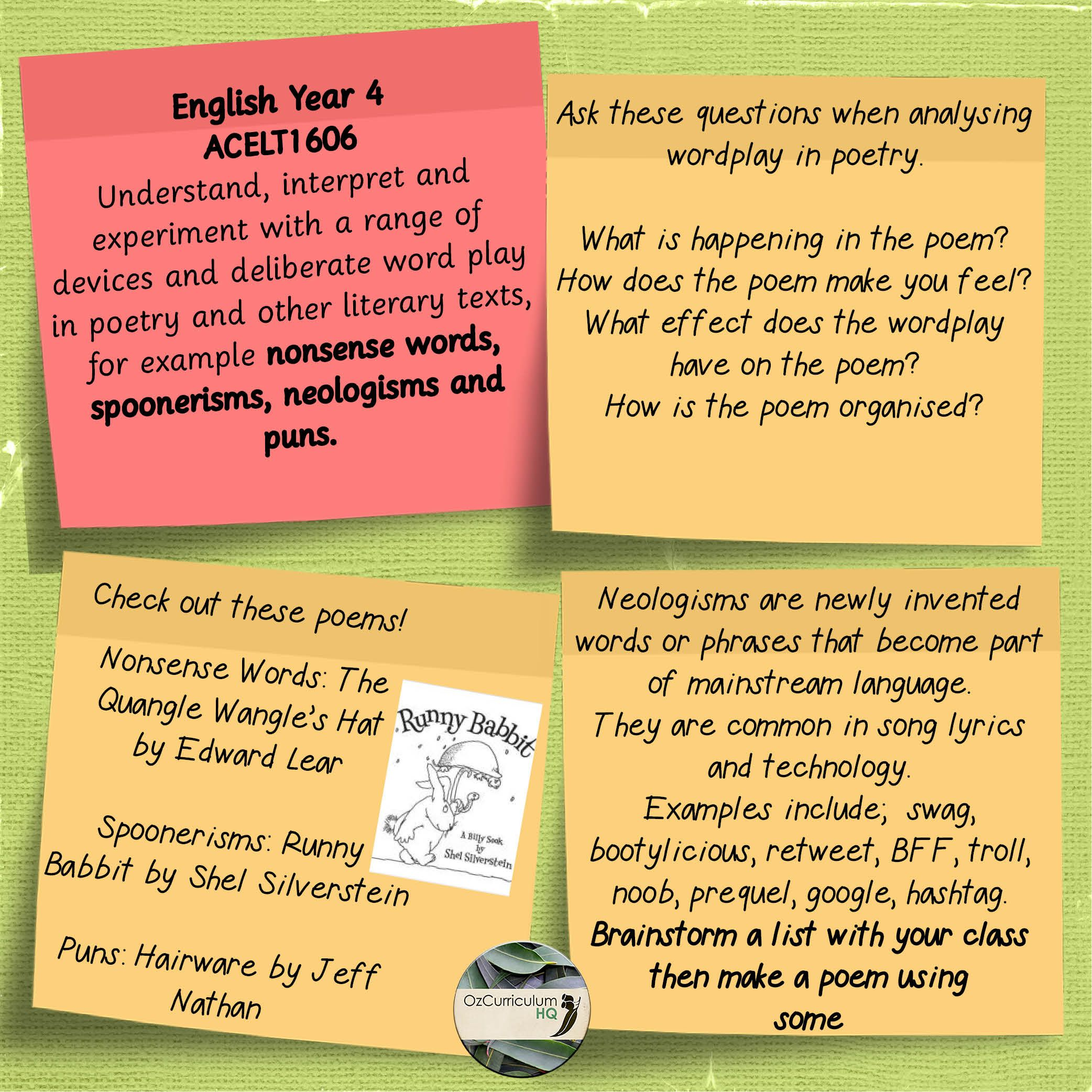 English Year 4 Acelt Nonsense Words Spoonerisms Neologisms And Puns