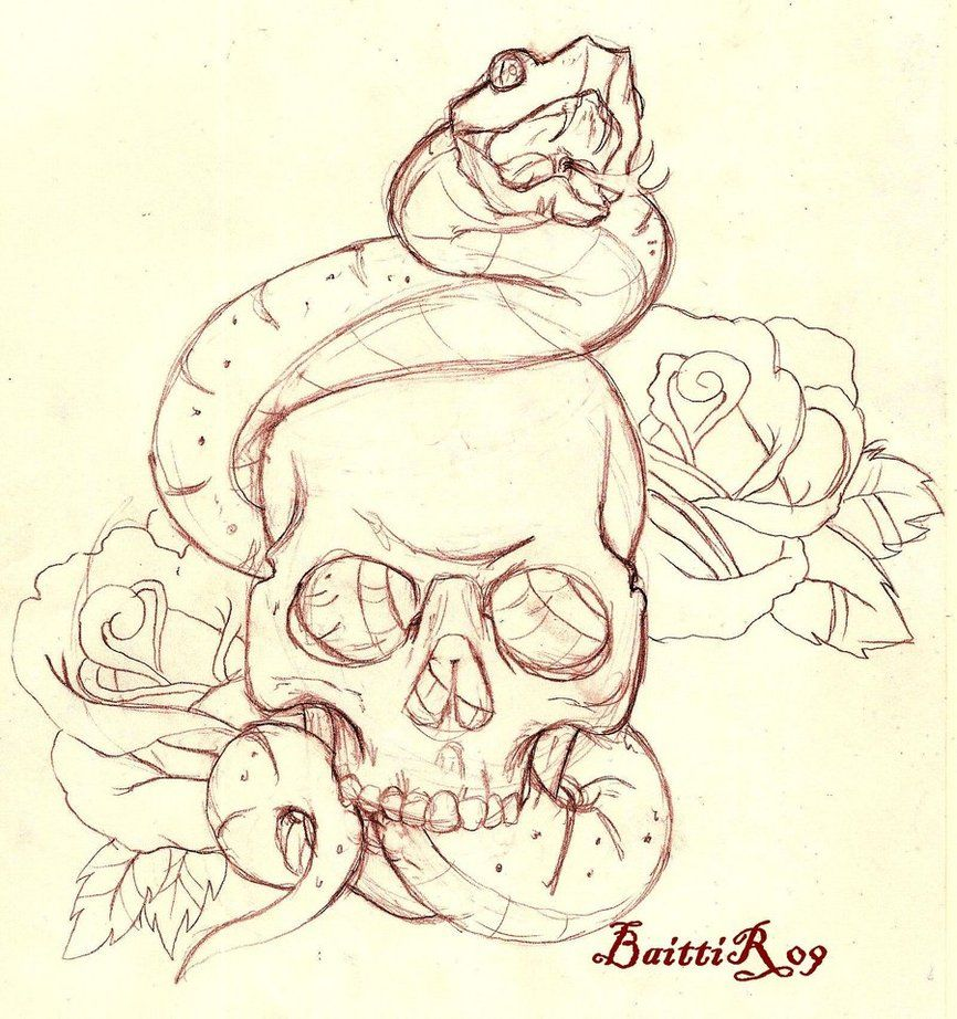 Skull and snake _sketch_ by Baitti on deviantART Tattoo