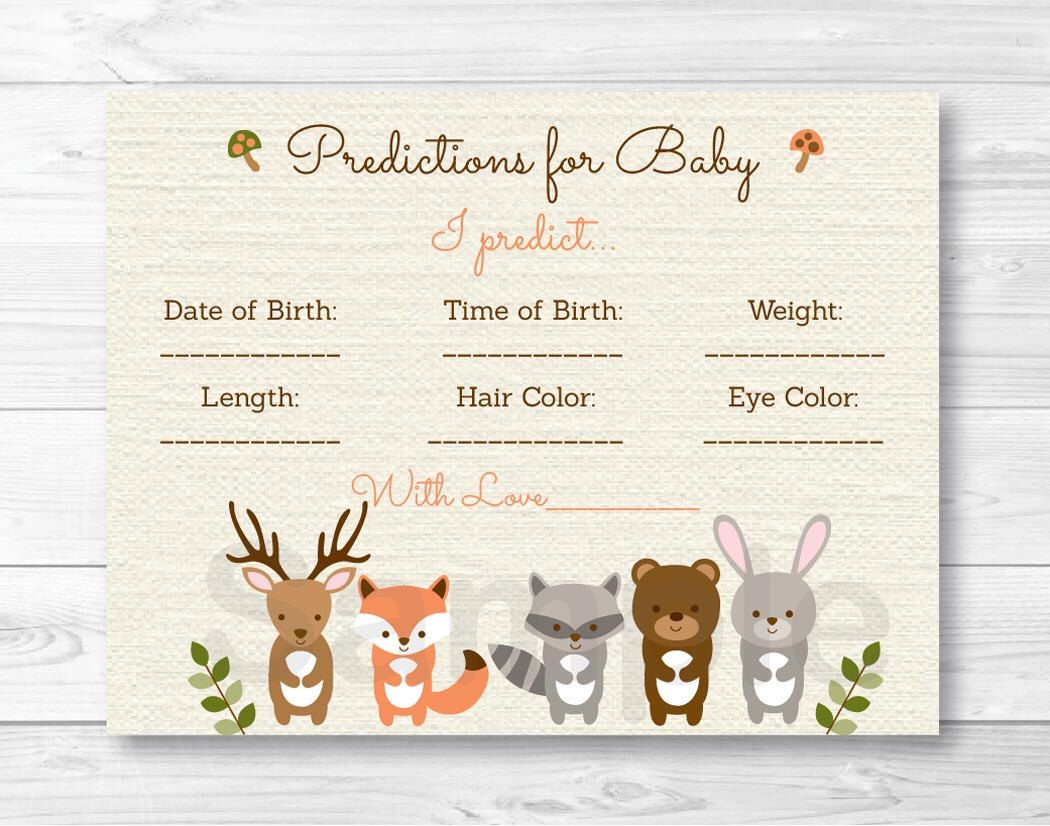 Woodland Forest Animal Baby Predictions Card Baby Shower