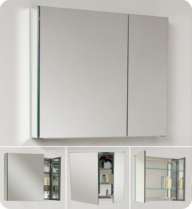 fresca 30 wide bathroom medicine cabinet w/ mirrors [fmc8090