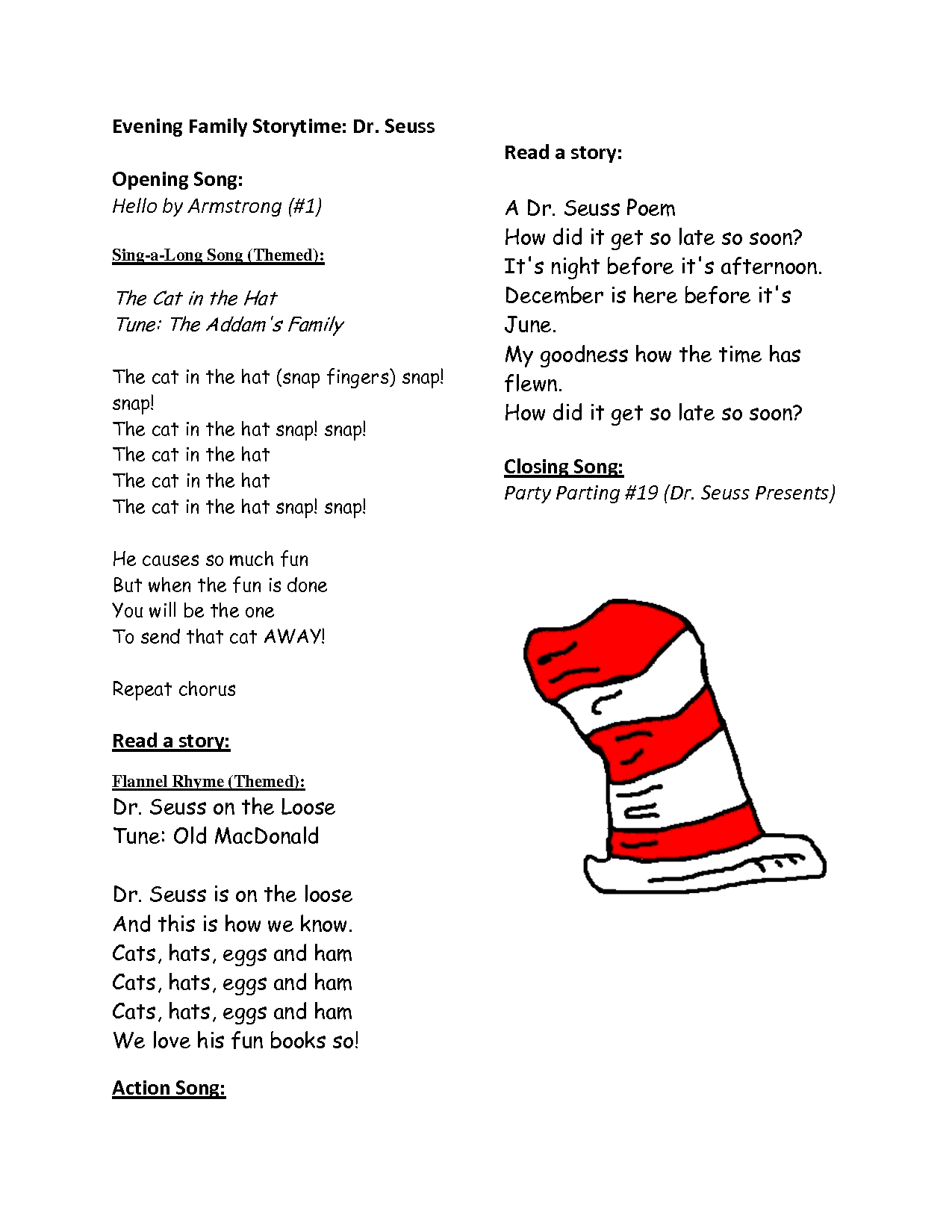 Hat Dr Seuss Printable Rhymes