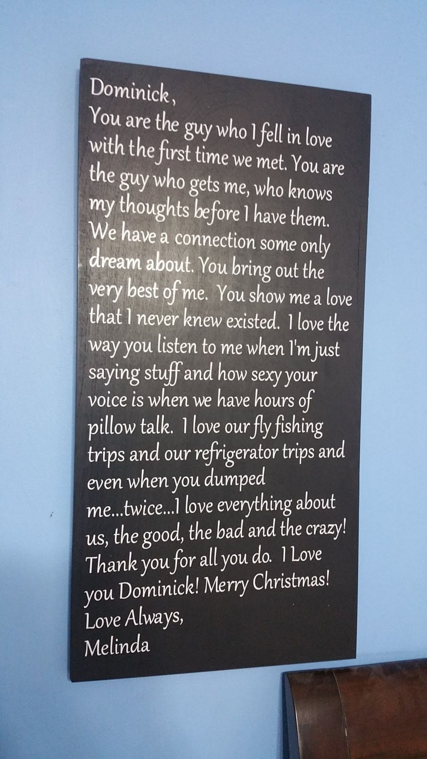 Love Letter to Your Husband Wife Valentine Wood Sign Quote