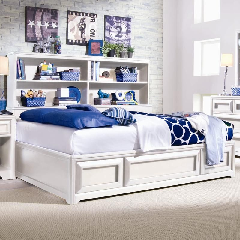 elite - reflections full bookcase platform bed with underbed