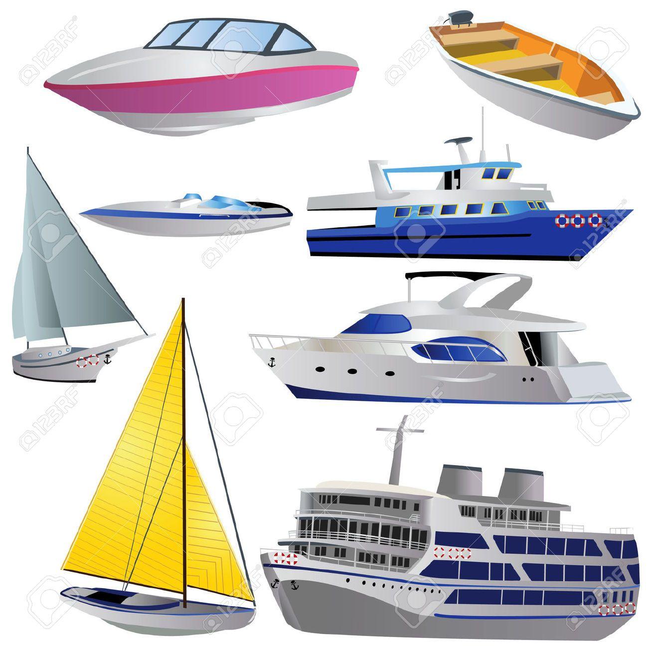 Ocho tipos de barcos diferentes. Colores variados. Fondo