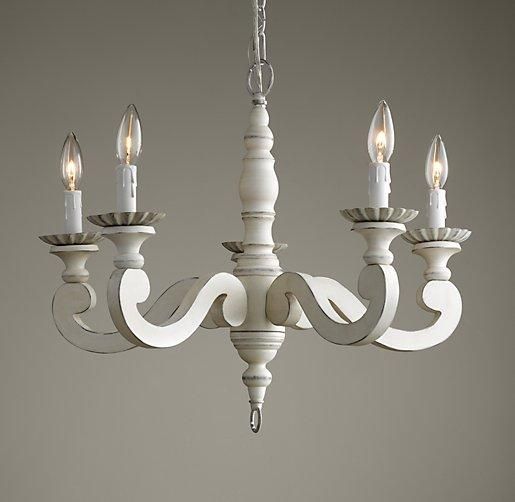 Chandelier For Ophelia S Nursery Lighting Etienne I Rh Baby And Child Distressed White Vintage Wooden