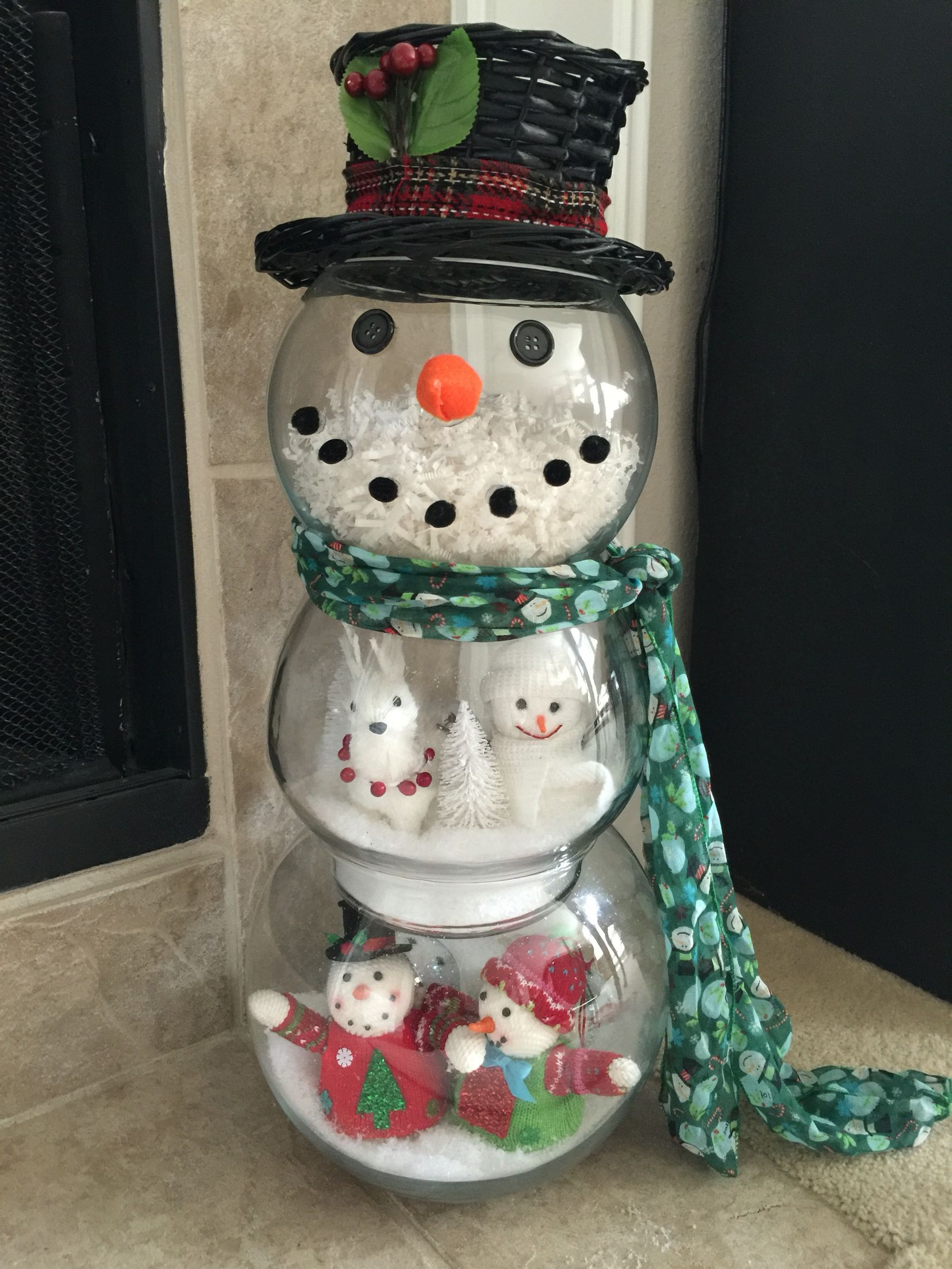 Christmas fishbowl Snowman DIY Christmas ornaments