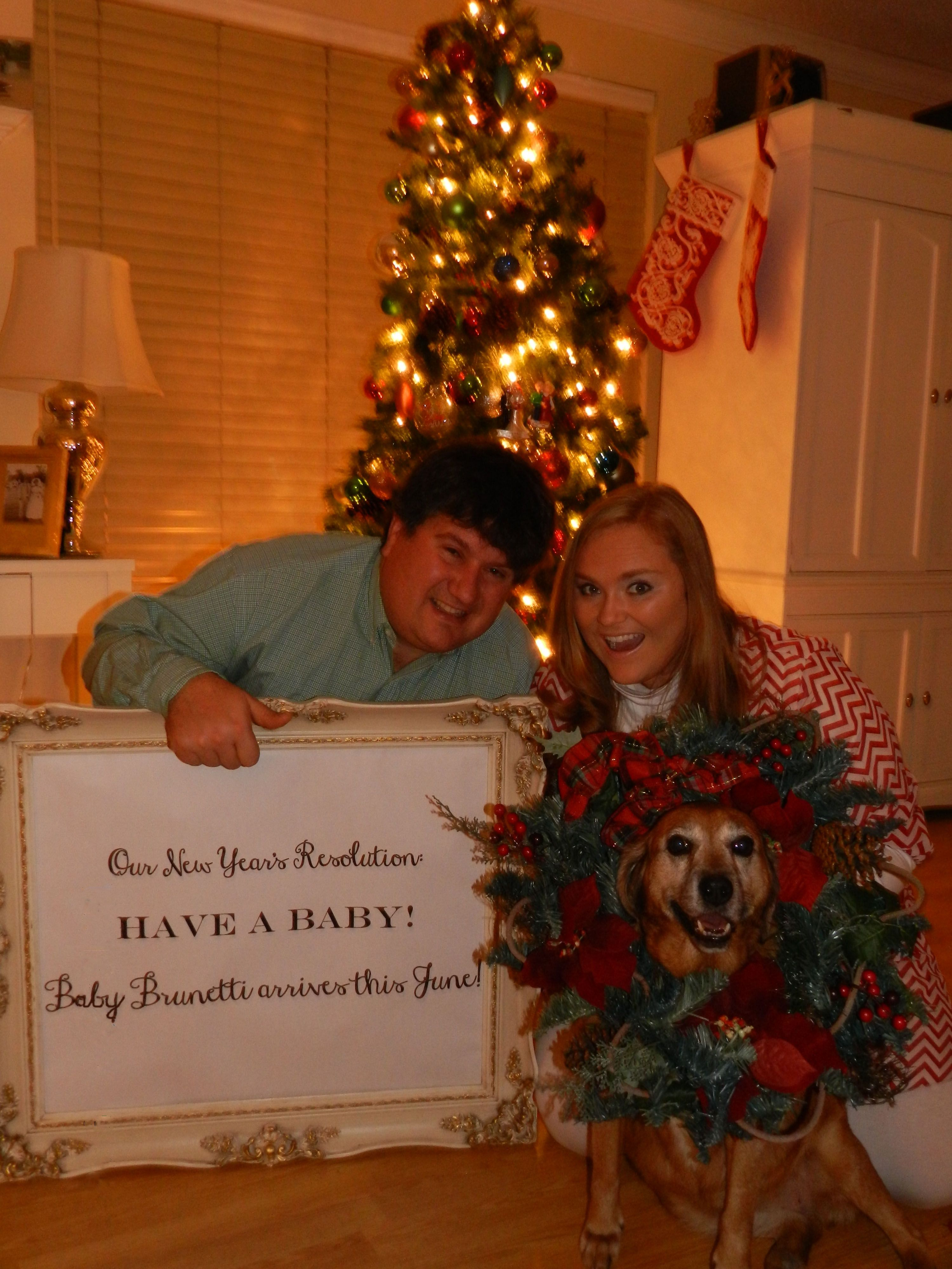 Our Christmas/New Years pregnancy announcement The sign