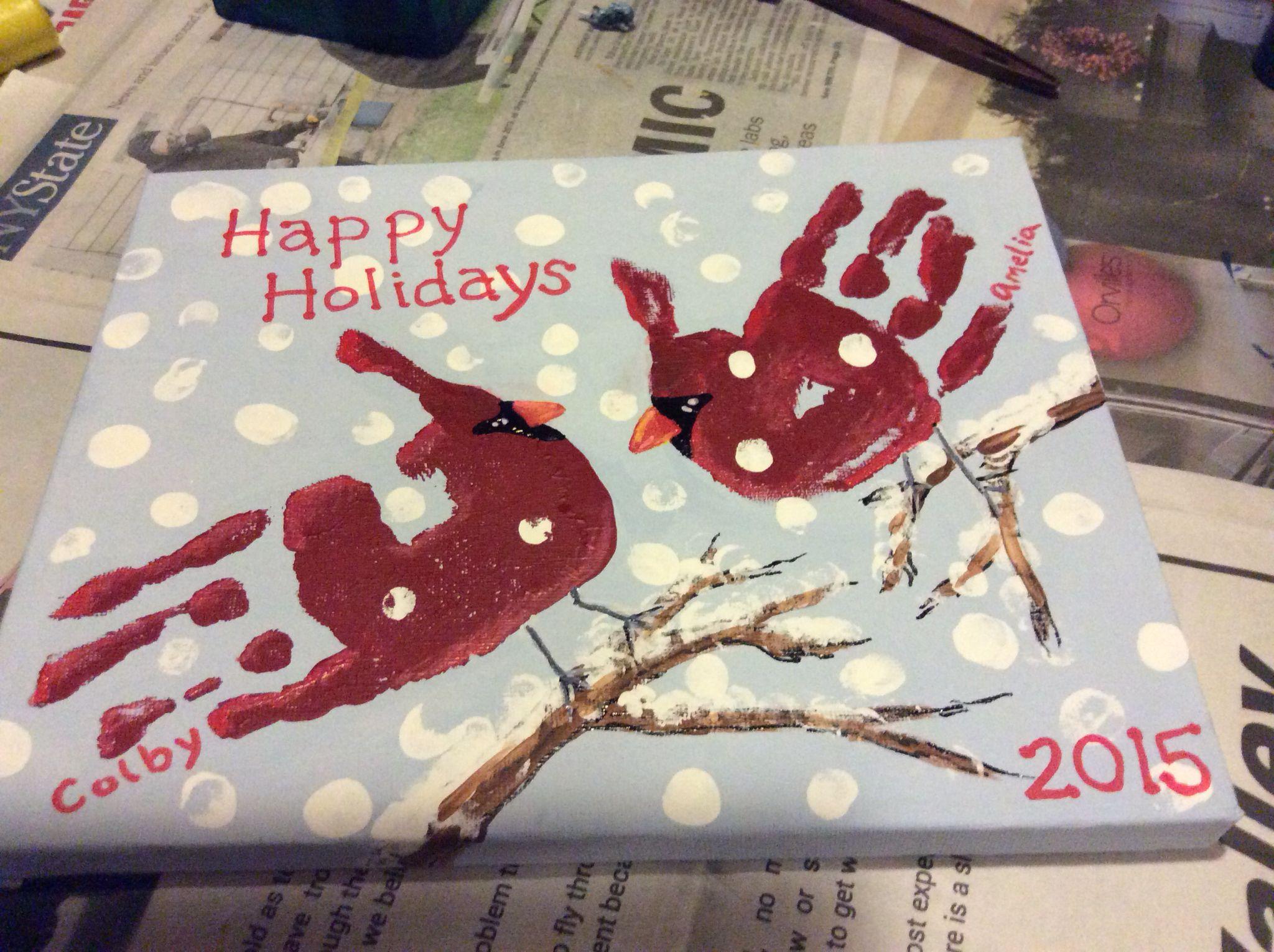 Handprint cardinals on canvas Footprint art Pinterest