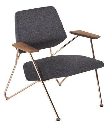 fauteuil rembourre polygon tissu et cuivre gris noyer cuivre prostoria ltd
