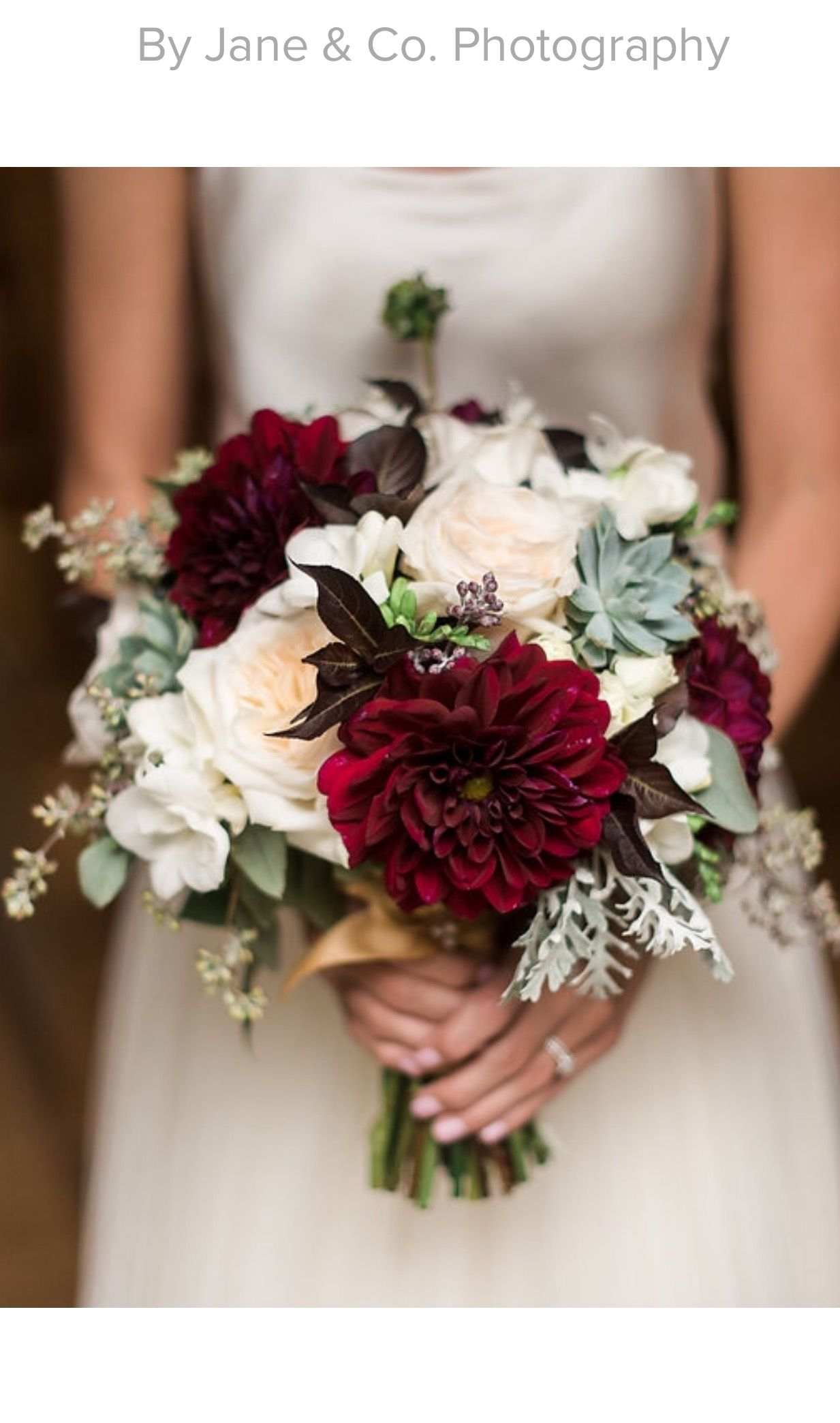 Early Fall Bridal Bouquet Blush Maroon Grey Garden Roses