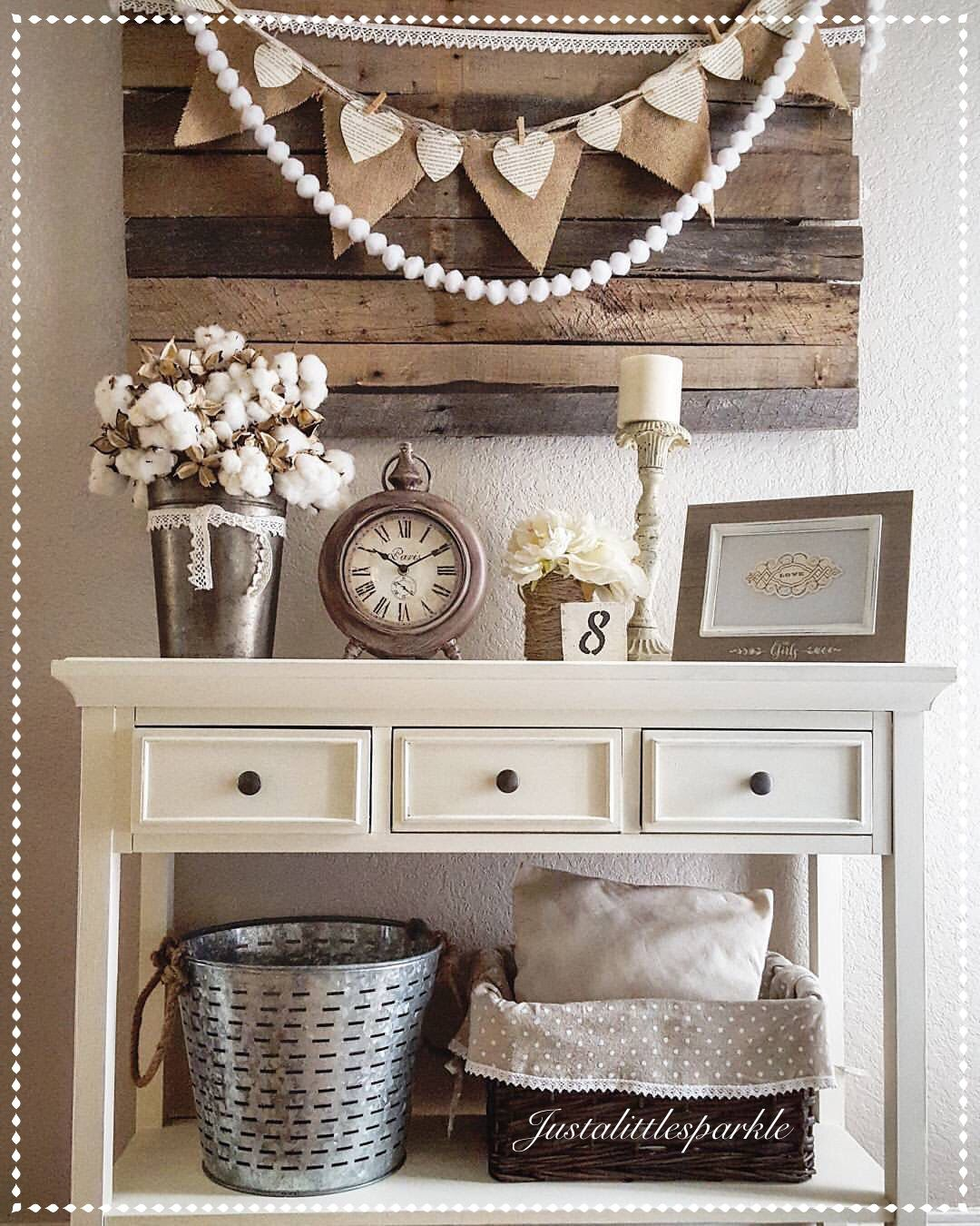 Entryway, pallets, olive bucket, rustic decor, neutral