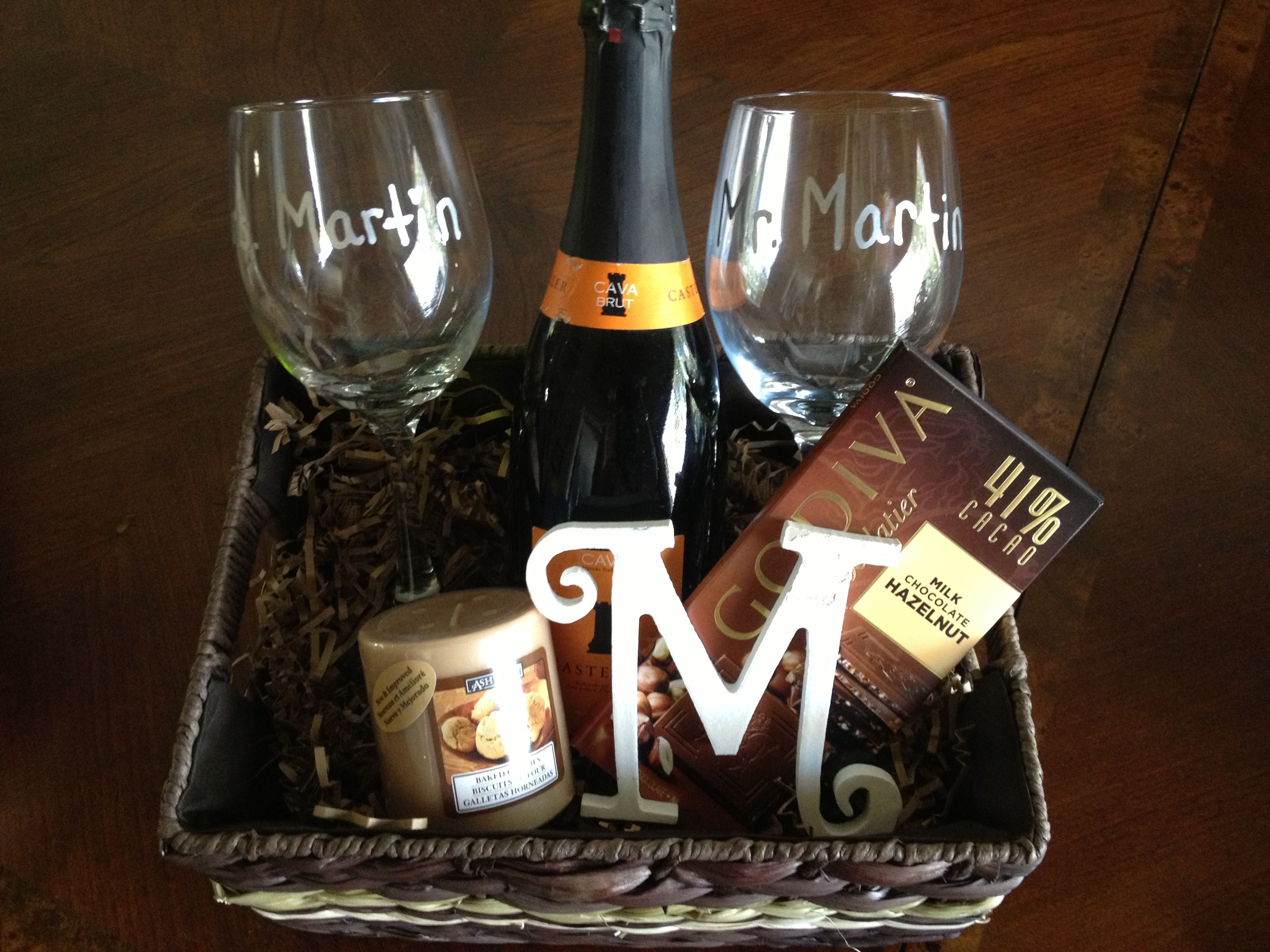 Personalized wine basket for a bridal shower gift. Mr